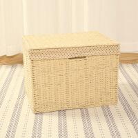 置物筐藤编杂物盒编织筐有盖衣服玩具储物整理箱大号家用