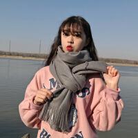 围巾女冬季时尚韩版百搭红色仿羊绒纯色学生日系软妹披肩两用围脖秋冬