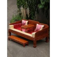 中式明清仿古家具 新款罗汉床三件套 实木雕花虎爪罗汉床榻 1.2米以下