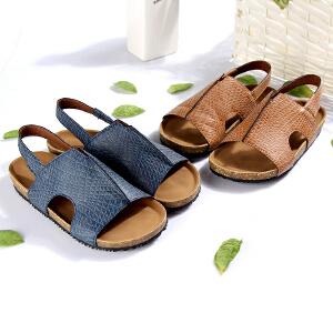 梓缇儿童凉鞋男童 大童真皮 防滑橡胶木 时尚沙滩鞋