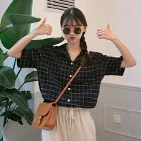 夏装女装韩版复古格子小西装领短袖衬衣宽松休闲衬衫显瘦学生上衣