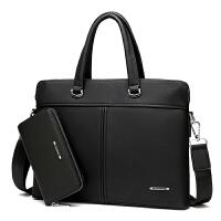 男包手提包商务公文包男士包包斜挎包软横款单肩背包皮包电脑包潮