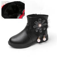 2018新款童鞋秋冬季女童鞋棉鞋中大童皮靴子女童雪地鞋�和��R丁靴