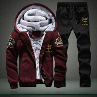 男装冬款卫衣套装青少年韩版休闲男装运动服潮男修身加绒加厚套装