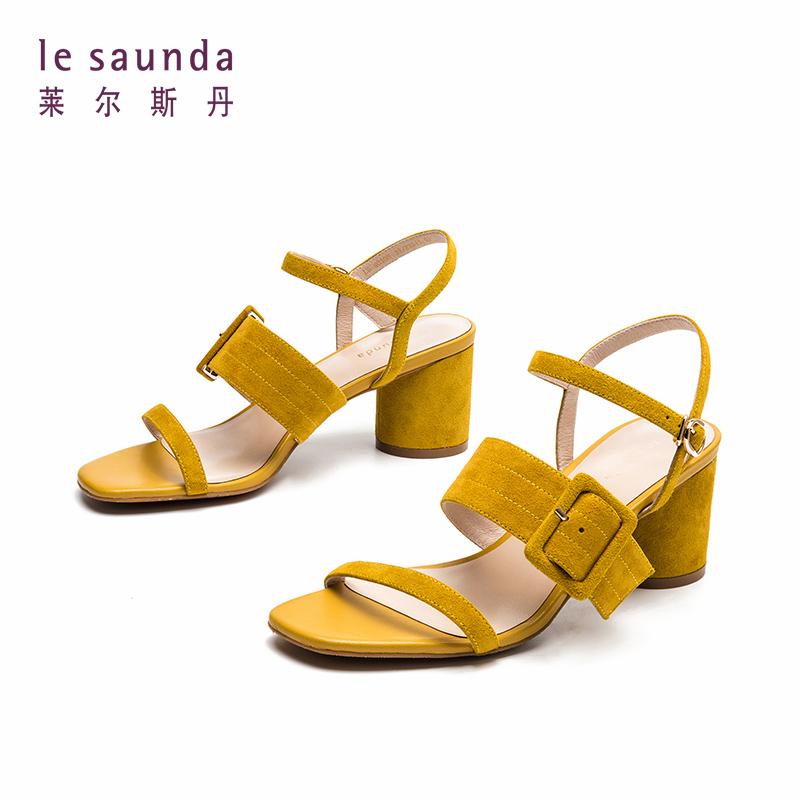 莱尔斯丹 新款一字带中跟粗高跟鞋温柔风仙女ins凉鞋 40303 一字带中跟粗高跟凉鞋