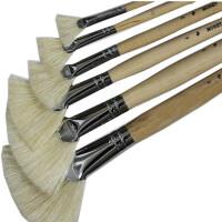 莫奈木杆套装扇形笔 猪鬃 油画笔水彩画笔 扇形油画笔
