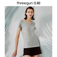 三枪T恤女2018春夏新品弹力棉莱卡圆领汗衫透气棉质打底女士短袖