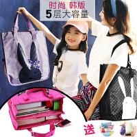 小学生手提袋拎书袋韩版女帆布中学生防水儿童美术袋补课包补习袋
