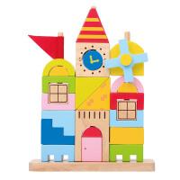 城堡拼插积木大块 宝宝早教玩具 水性漆1-3岁以上