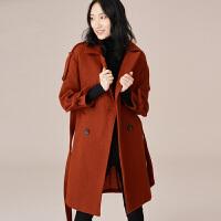 【3折到手价:180元】爱客新款时尚大翻领系带中长款毛呢外套女秋冬羊毛呢子大衣