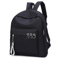 双肩包女小中学生书包女旅行包休闲户外背包男士 黑色