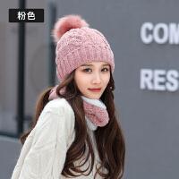 帽子女冬围脖套帽两件套秋季时尚韩版潮百搭甜美可爱针织毛线帽保暖