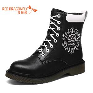 红蜻蜓女靴子冬季粗跟系带英伦马丁靴 加绒高帮短筒女靴