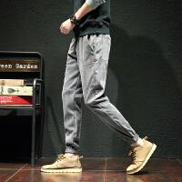 休闲裤男 春季新款大码休闲裤九分裤薄款灯芯绒束脚哈伦裤