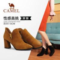 骆驼女鞋2018冬季新款短靴 时尚休闲韩版百搭靴子女中跟短筒女靴