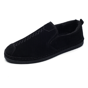 男鞋秋冬季帆布鞋子男士豆豆板鞋休闲一脚蹬懒人潮鞋保暖加绒棉鞋
