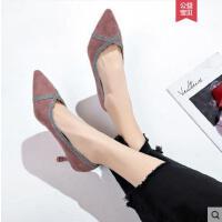 简约性感细跟尖头网红浅口高跟鞋女单鞋女OL工作鞋子