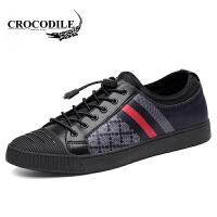 鳄鱼恤休闲鞋系带板鞋懒人套脚鞋子百搭舒适男鞋