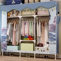 蜗家简易衣柜加固25mm全钢管加厚加粗大空间双人收纳柜子防潮布艺衣橱经济实用布衣柜