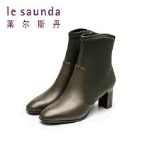 莱尔斯丹秋冬新款拼接高跟粗跟女短靴袜子靴9T73501