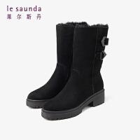 莱尔斯丹 秋冬收仓同款时尚圆头搭扣厚底皮毛一体短靴女靴LS AT49011F