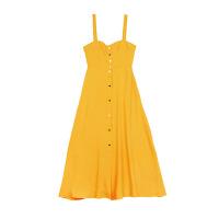 2018春夏季新款韩版明星同款百搭连衣裙中长款修身黄色高腰无袖吊带气质长裙女潮 鹅蛋黄
