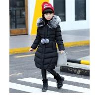 童装女童2017季新款加厚棉衣外套大中童女孩韩版中长款棉袄