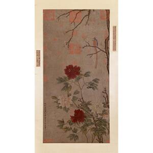 任仁发(王翚、沈树镛题跋 )《花鸟》纸本立轴