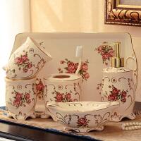 欧式陶瓷卫浴五件套浴室用品创意卫生间结婚洗漱套装刷牙杯漱口杯