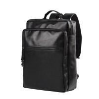 丹马仕男士背包双肩包商务休闲皮包旅行学生书包电脑包时尚男包潮 黑色 中