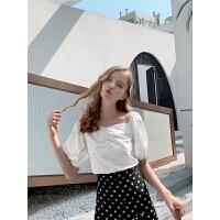 毛菇小象轻熟短袖白衬衫女夏季新款设计感小众气质复古泡泡袖衬衣