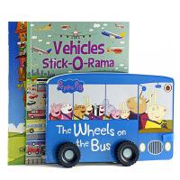 粉红猪小妹车轮书+100层的巴士+交通工具贴纸书 啥是佩奇英文原版绘本 Peppa Pig小猪佩琪玩具纸板书