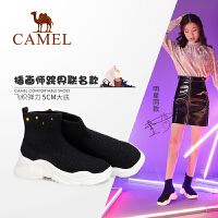 camel骆驼女鞋2018新款袜子鞋女运动短靴冬季短筒女靴子飞织弹力袜靴女