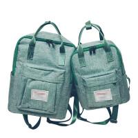?韩版帆布双肩背包学院小清新学生纯色书包男女休闲旅行包电脑背包?