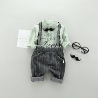 2018新款男童套装韩版春装婴儿背带裤两件套1-2-3岁宝宝长袖衬衫 MMK 胡子背带 绿色