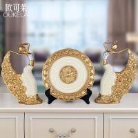 欧式创意家居装饰品客厅摆件孔雀舞女人物玄关酒柜电视柜工艺礼品