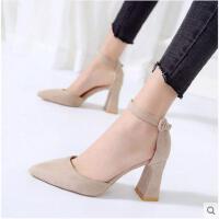 一字扣高跟鞋春季新款韩版百搭尖头粗跟单鞋浅口OL职业女鞋