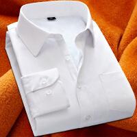 秋冬季新款加绒加厚男士长袖衬衫纯色保暖商务休闲打底大码男衬衣