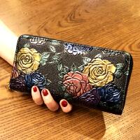 女士手拿钱包女长款女生钱包2018新款韩版潮个性大容量复古拉链多功能皮夹