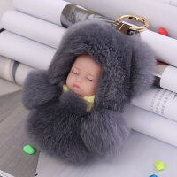 獭兔毛皮草萌睡娃娃小兔子baby包挂件装死兔宝宝毛绒挂饰玩具