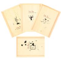 彩页木盒日记本 创意韩国学生文具小清新记事本子A5 学生文具用品