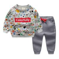 男童运动套装拉绒 春新款儿童套装卫衣+运动裤 宝宝套装厚款