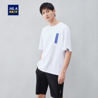 HLA/海澜之家圆领宽松版型短袖T恤2019夏季新品潮流印花短T男