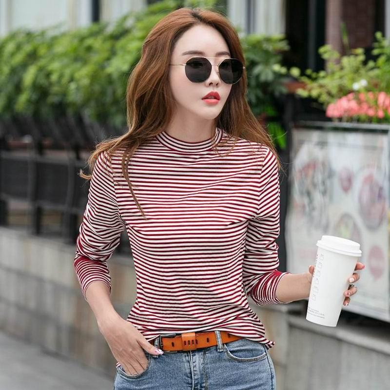 半高领打底衫女秋装新款条纹长袖t恤修身内搭洋气紧身上衣薄