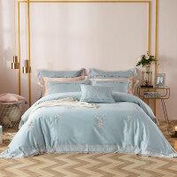 床上四件套全棉纯棉欧式简约刺绣床单被套床上用品网红4件套夏季