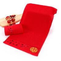 结婚毛巾一对婚庆红色毛巾礼盒装回礼面巾洗脸双喜字情侣毛巾 75x35cm