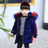 男童装外套新款金丝绒棉衣中长款羽绒2017小童加厚棉袄韩版 深