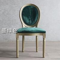实木椅子卧室创意化妆椅轻奢时尚绒布餐厅酒店金色餐椅