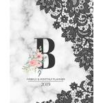 【预订】Weekly & Monthly Planner 2019: Black Lace Monogram Lett