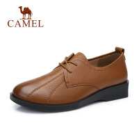 camel骆驼秋冬新品深口牛皮女单鞋平跟中年妈妈皮鞋舒适软底